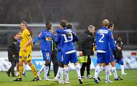 Fotball<br /> 10 April 2011<br /> Adeccoligaen<br /> Bodø/Glimt - Sandefjord<br /> Alexander Gabrielsen og Erik Lamøy , Sandefjord<br /> Thomas Rønning , Bodø/Glimt<br /> Foto : Tor-Erik Eidissen , Digitalsport