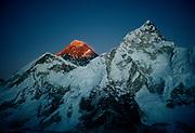 Chomolungma, Mt Everest, sunset, SW face, ( Nuptse on right) Khumbu Himal, Nepal Himalaya.