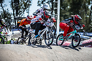 #187 (GARCIA Jared) USA and #122 (TOUGAS Alex) CAN at round 8 of the 2018 UCI BMX Supercross World Cup in Santiago del Estero, Argentina.