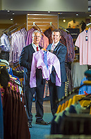 Three Generations story. Bob Stewart Clothing in Kew. Francis (holding child) and Robert Stewart with Francis Stewart. Photo by Craig Sillitoe 25/03/2013