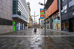 © Licensed to London News Pictures. 05/01/2021. Manchester, UK. Manchester City centre is seen deserted this morning as England entered a seven-week national lockdown from Tuesday, January 5, until the end of the February half term. Photo credit: Ioannis Alexopoulos/LNP