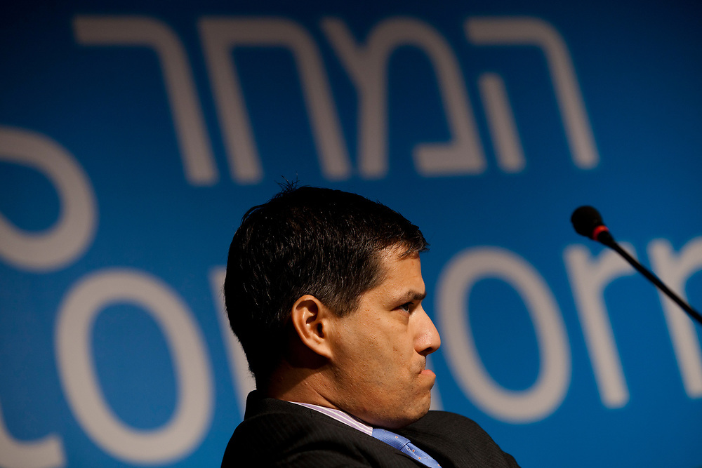 """Shai Agassi, founder and CEO of """"Better Place"""", an Israeli project developing all-electric vehicles and a network of charging points, attends a panel titled 'Is there Hope for a Green Tomorrow?' during the 5th annual Israeli Presidential Conference held in Jerusalem, Israel, on June 19, 2013."""
