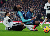 Football - 2018 / 2019 Premier League - Fulham vs. Tottenham Hotspur<br /> <br /> Cyrus Christie of Fulham tackles Danny Rose of Spurs, at Craven Cottage.<br /> <br /> COLORSPORT/ANDREW COWIE
