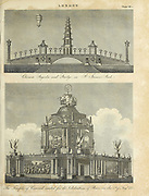 Architecture in the City of London Chinese Pagoda (Top) and Temple of Concord  9Bottom) Copperplate engraving From the Encyclopaedia Londinensis or, Universal dictionary of arts, sciences, and literature; Volume XIII;  Edited by Wilkes, John. Published in London in 1815