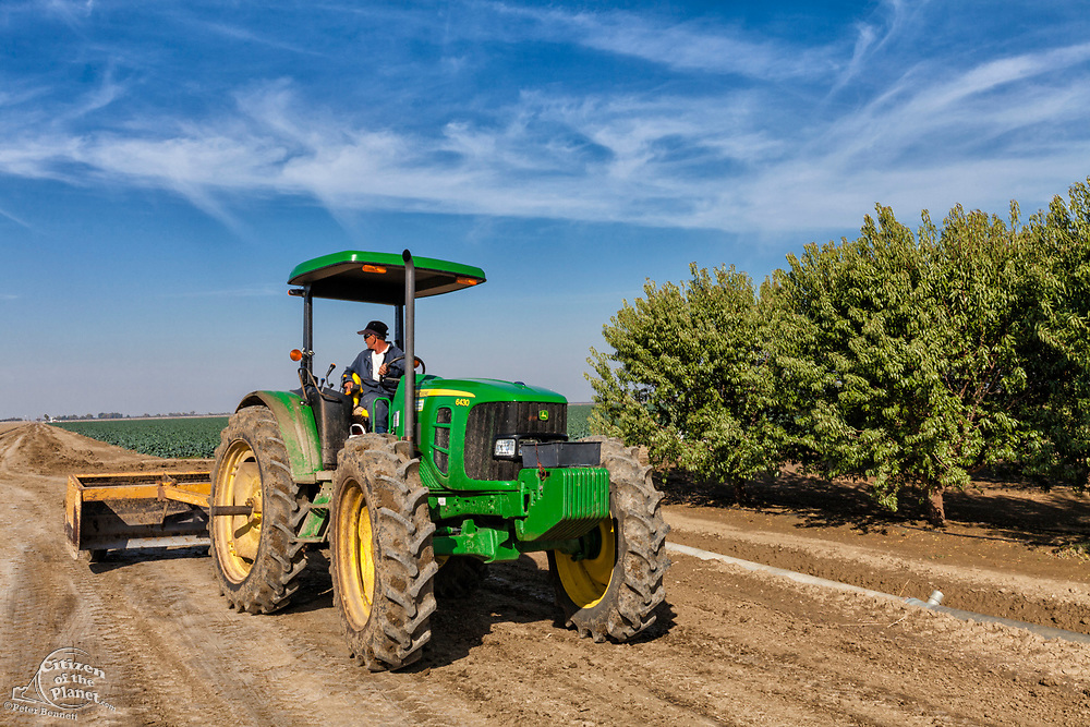 Tractor next to Almond orchard. Rod Cardella runs Cardella Winery, a family business since 1969, which grows almonds, broccoli and other crops as well as grapes. With the high price of water in recent years, Rod has turned to technology and drip irrigation to lower water usage and like many other farmers is planting high value crops such as almonds. Fresno County, San Joaquin Valley, California, USA