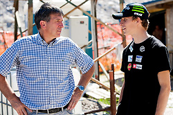 Jelko Gros  and Jurij Tepes at media day of Slovenian Ski jumping team during construction of two new ski jumping hills HS 135 and HS 105, on September 18, 2012 in Planica, Slovenia. (Photo By Vid Ponikvar / Sportida)