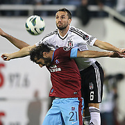 Besiktas's Tomas Sivok (R) and Trabzonspor's Halil Altintop during their Turkish Superleague soccer derby match Besiktas between Trabzonspor at the Inonu Stadium at Dolmabahce in Istanbul Turkey on Sunday, 21 October 2012. Photo by Aykut AKICI/TURKPIX