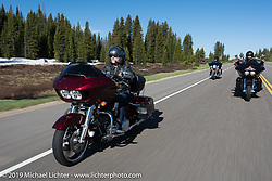 Ilona Green of CO on her 2016 Road Glide Special riding from Steamboat Springs back to Denver after the Rocky Mountain Regional HOG Rally, Colorado, USA. Sunday June 11, 2017. Photography ©2017 Michael Lichter.