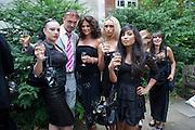 MISTRESS ABSOLUTE; BEWSHER; EMS; TUFF KOOKI; NATASHA, Sebastian Horsley funeral. St. James's church. St. James. London afterwards in the church garden. July 1 2010. -DO NOT ARCHIVE-© Copyright Photograph by Dafydd Jones. 248 Clapham Rd. London SW9 0PZ. Tel 0207 820 0771. www.dafjones.com.
