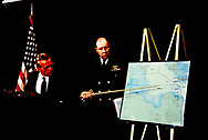 Arlington VA 1989/01/04 Secretary of Defense Carlucci and chairman of the Joint Chiefs of Staff Crowe brief the press on the incident in the Mediterranean Sea which led to the downing of two Libyan MIG-23s by U.S. naval fighters<br />Photo by Dennis Brack