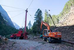 """THEMENBILD - Der Sturm Vaia hat in der Nacht auf den 30. Okober 2018 lokal für Orkanböen mit bis zu 130 km/h gesorgt. In Kärnten wurde mittlerweile 1 Mio. Fm Schadholz durch Windwurf bestätigt. Die Gemeinde Grosskircheim ist mit ca. 100.000 Festmeter Schadholz betroffen. Hier im Bild Holzbringung im Gradental. Seilkrananlage, einem sogenannten """"Kippmast"""", welcher auf einem Spezial-LKW befestigt ist. Aufgenommen am Montag 16. September 2019 in Grosskircheim // During the night of the 30th of October 2018, storm Vaia locally caused gale-force gusts of up to 130 km/h. In Carinthia, 1 million cubic meters of damaged wood has been confirmed by wind throws. The municipality of Grosskircheim is affected by about 100,000 cubic meters of damaged wood. Here in the picture,Cable crane system, a so-called """"tilting mast"""", which is mounted on a special truc . Pictured on Monday, September 16, 2019 in Grosskircheim. EXPA Pictures © 2019, PhotoCredit: EXPA/ Johann Groder"""
