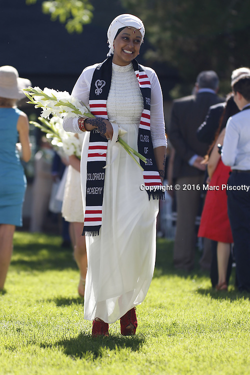 SHOT 6/2/16 8:38:00 AM - Colorado Academy Class of 2016 Commencement ceremonies at the Denver, Co. private school. The school graduated 88 seniors this year and the event capped a week filled with awards, tributes, and celebrations for the outgoing senior class. (Photo by Marc Piscotty / © 2016)