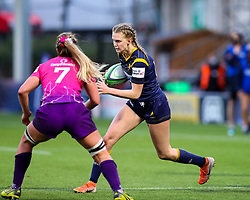 Vicky Laflin of Worcester Warriors Women tries to find a route past Sara Svoboda of Loughborough Lightning  - Mandatory by-line: Nick Browning/JMP - 14/11/2020 - RUGBY - Sixways Stadium - Worcester, England - Worcester Warriors Women v Loughborough Lightning - Allianz Premier 15s