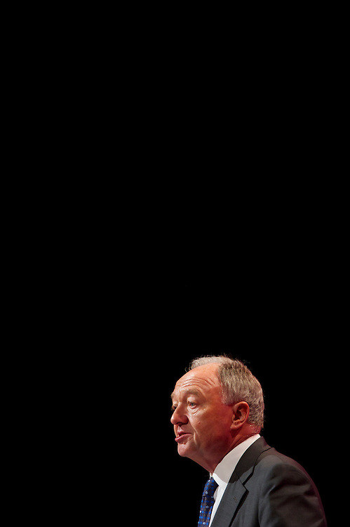 Former London Mayor Ken Livingstone addresses delgates attending the Labour Party Conference in Manchester on 29 September 2010, the penultimate day of annual assembly.  He has been recently announced that he will run against the incumbent Mayor Boris Johnson in 2012.