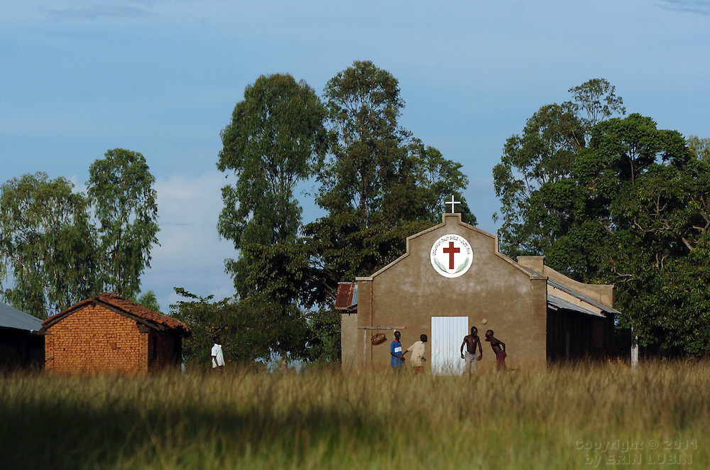 Boys play ball outside a school in northern Uganda, October 6, 2006...Photo by Erin Lubin