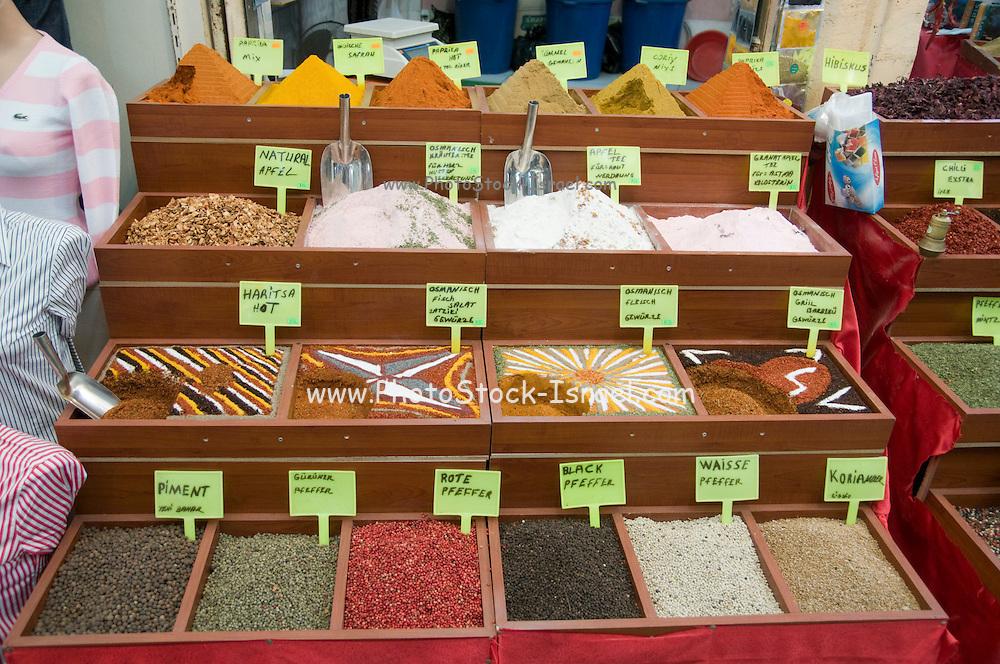 Turkey, Antalya, The old city Spice shop in the Old Bazaar