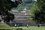 Mesoamerica Pyramids known as Building 23 and Building 3 at the pre-Columbian archeological complex of El Tajin in Tajin, Veracruz, Mexico. El Tajín flourished from 600 to 1200 CE and during this time numerous temples, palaces, ballcourts, and pyramids were built by the Totonac people and is one of the largest and most important cities of the Classic era of Mesoamerica.