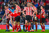 Lee Cattermole of Sunderland (6) reacts to Alim Ozturk of Sunderland (5) been sent off during the EFL Sky Bet League 1 first leg Play Off match between Sunderland and Portsmouth at the Stadium Of Light, Sunderland, England on 11 May 2019.