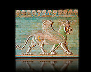 Coloured glazed terracotta tiled panels depicting mythical Griffins. From the reign of Darius 1st and the First Persian or Achaemenid Empire around 510 BC excavated from the Palace of Daius 1st Susa, present day Iran.. Inv AS 332607, The Louvre Museum, Paris. .<br /> <br /> If you prefer to buy from our ALAMY PHOTO LIBRARY  Collection visit : https://www.alamy.com/portfolio/paul-williams-funkystock/persian-antiquities.html  <br /> <br /> Visit our ANCIENT WORLD PHOTO COLLECTIONS for more photos to download or buy as wall art prints https://funkystock.photoshelter.com/gallery-collection/Ancient-World-Art-Antiquities-Historic-Sites-Pictures-Images-of/C00006u26yqSkDOM