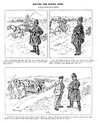"""Waiting for Bigger Game. A study of rural police methods. """"W'y, I remembers the time w'en I'd 'ave stopped that for furious drivin', an' I reckon it's only goin' about a paltry fifteen mile an hour!"""" """"Ar! Now them cyclists is puttin' on a farish pace! Summat about twenty mile an hour, I s'pose. But 'tain't no business o' mine. I'm 'ere to stop motor-caws. Wot ho!"""" """"'Tain't no use tellin' me you've broke down! Stands to reason a motor-caw goin' down 'ill's bound to be goin' too fast. So we'll put it down about thirty mile an hour! You name and address, sir, hif you please."""""""