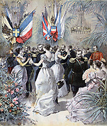 Ball at the Arsenal during the visit of the Russian Mediterranean Fleet to the French naval port of Toulon.  From 'Le Petit Journal', Paris, 21 October 1893.  France, Russia, Friendship, Alliance, Diplomacy, Dancing