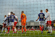 Pushing and shoving on a crowded 6 yard box during the U17 European Championships match between Scotland and Poland at Firhill Stadium, Maryhill, Scotland on 26 March 2019.