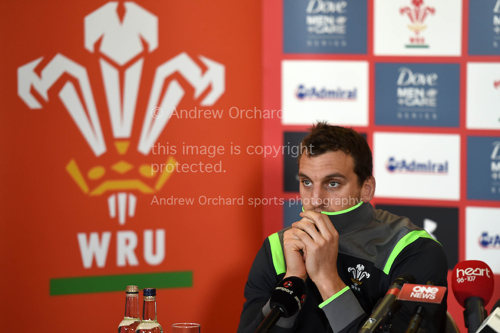 Wales capt Sam Warburton speaks to the press .Wales rugby team training and press conference at the Vale Resort, Hensol , near Cardiff, South Wales on Tuesday 18th November 2014. Wales are looking ahead to their next match against the Allblacks on Saturday.<br /> pic by Andrew Orchard, Andrew Orchard sports photography.