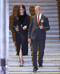 The Duchess of Sussex leaves after attending the opening of Oceania at the Royal Academy of Arts in London.