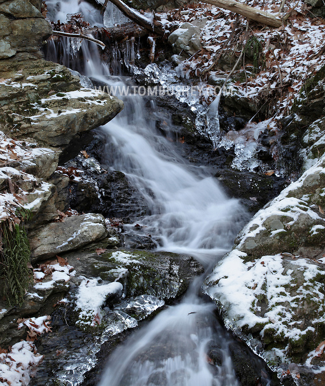 Cornwall-on-Hudson, New York - A stream flows down Storm King Mountain on Dec. 16, 2010. The stream is along the White Trail from the Esty and Hellie Stowell Trailhead.