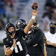 FL - OCTOBER 03: Dillon Gabriel #11 of the Central Florida Knights throws a pass during warmups against Tulsa at Bright House Networks Stadium on October 3, 2020 in Orlando, Florida. (Photo by Alex Menendez/Getty Images) *** Local Caption *** Dillon Gabriel
