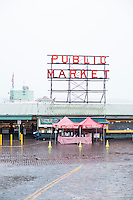 Pike Place Market is a public market overlooking the Elliott Bay waterfront in Seattle, Washington, United States. The Market opened August 17, 1907, and is one of the oldest continuously operated public farmers' markets in the United States.