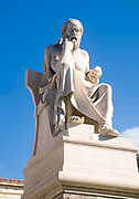 Statue of Socrates at the Academy of Athens, part of the architectural trilogy designed by Danish architect Theopil Hansen, Athens, Greece
