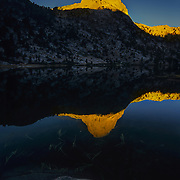 North America, West, California<br /> Sunrise and moonset at Rae Lakes, King's Canyon National Park, CA.