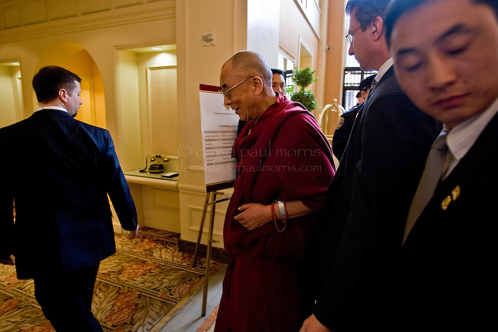 SAN FRANCISCO - APRIL 15:   His Holiness the 14th Dalai Lama greets people in the InterContinental Mark Hopkins Hotel lobby on April 15, 2006 in San Francisco, California. The Dalai Lama broke his regular schedule which is normally planned seven years in advance after he was invited by Muslim leaders to discuss how to promote understanding and compassion among Muslims and people of all faiths.  (Photograph by David Paul Morris)
