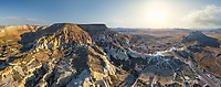 Panoramic aerial view of Cappadocia, Turkey