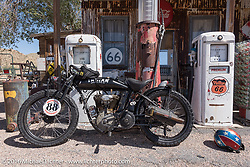 Doug Wothke of Florida's 1916 Indian at the Hackberry General Store on historic Route 66 in Kingman, Arizona during the Motorcycle Cannonball Race of the Century. Stage-13 ride from Williams, AZ to Lake Havasu CIty, AZ. USA. Friday September 23, 2016. Photography ©2016 Michael Lichter.
