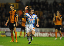 Huddersfield Town's Harry Bunn celebrates his goal. - Photo mandatory by-line: Dougie Allward/JMP - Mobile: 07966 386802 - 01/10/2014 - SPORT - Football - Wolverhampton - Molineux Stadium - Wolverhampton Wonderers v Huddersfield Town - Sky Bet Championship