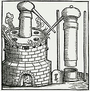 'Sublimation in an athanor, a digesting furnace. From ''Alchemiae Gebri Arabis Libri'', Bern, 1545.'