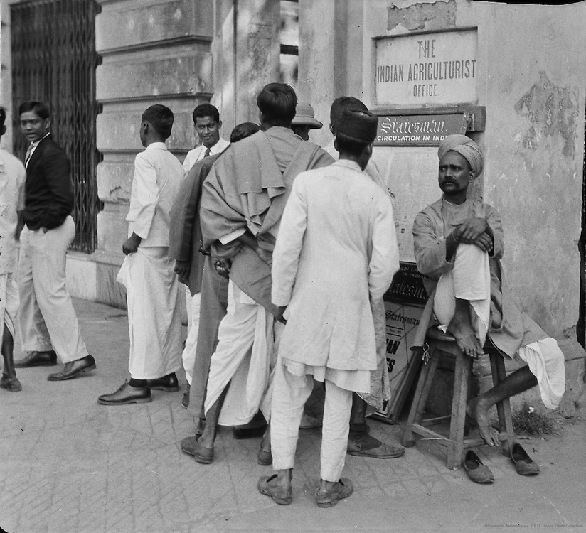 Group of Students Around Newspaper Board, Calcutta, India, 1929