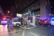 Aug. 17, 2015 - Bangkok, Thailand - <br /> <br /> Huge Explosion Rocks Bangkok Landmark<br /> <br /> Rescuers work at the site of an explosion in downtown Bangkok, capital of Thailand, on Aug. 17, 2015. At least 15 people were killed and more than 80 others injured in an explosion in downtown Bangkok on Monday night, according to local media. <br /> ©Exclusivepix Media