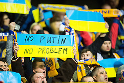 "Supporters of Ukraine with sign ""No Putin - No problem"" celebrate after the UEFA EURO 2016 Play-off for Final Tournament, Second leg between Slovenia and Ukraine, on November 17, 2015 in Stadium Ljudski vrt, Maribor, Slovenia. Photo by Vid Ponikvar / Sportida"