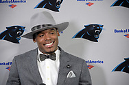 Carolina Panthers quarterback Cam Newton answers a question during a post-game news conference after an NFL football game against the Tampa Bay Buccaneers in Tampa, Fla., Sunday, Jan. 1, 2017. The Buccaneers won 17-16. (AP Photo/Phelan M. Ebenhack)