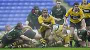 24/02/1002<br /> Rugby - Zurich Premiership<br /> Madejski Stadium - Reading - Berks<br /> London Irish v Wasps:<br /> Wasps Hooker, Trevor Leota plays scrum half clearing the ball from the base of the Ruck. ' [Mandatory Credit: Peter Spurrier/Intersport Images],