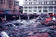CS02004. Demolition of Meier & Frank parking lot, SW Broadway & Morrison. February 1981