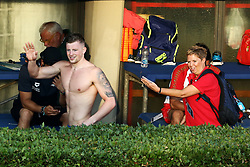June 23, 2017 - Rome, Italy - Adam Peaty (ENG) arriving late at the award ceremony after competing in Men's 100 m Breaststroke Final A and setting the new record of the competition during the international swimming Trofeo Settecolli at Piscine del Foro Italico in Rome, Italy on June 23, 2017. (Credit Image: © Matteo Ciambelli/NurPhoto via ZUMA Press)