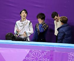 February 17, 2018 - Gangneung, South Korea - (L-R) Gold medal winner YUZURU HANYU of Japan, Silver medal winner SHOMA UNO of Japan, Bronze medal winner JAVIER FERNANDEZ of Spain after the winners were annouced in Figure Skating: Men Single Free Skating at Gangneung Ice Arena during the 2018 Pyeongchang Winter Olympic Games. (Credit Image: © Scott Mc Kiernan via ZUMA Wire)