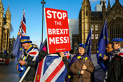 © Licensed to London News Pictures. 19/12/2018. Anti-Brexit and Pro-Brexit demonstrators protest outside the Houses of Parliament with hundred days to Brexit. Photo credit: Dinendra Haria/LNP