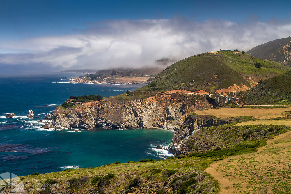 The iconic view of Bixby Bridge from Hurricane Point on Highway 1 on the Big Sur Coast
