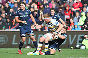 Sale Sharks Will Cliff tackles GJ Van Velze (Capt) Worcester Warriors during the Gallagher Premiership Rugby match between Sale Sharks and Worcester Warriors at the AJ Bell Stadium, Eccles, United Kingdom on 9 September 2018.