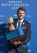Henley-on-Thames. United Kingdom.  Diamond sculls winner  Matthew Dunham Waiariki Rowing Club, New Zealand, 2017 Henley Royal Regatta, Henley Reach, River Thames. <br /> <br /> 17:36:10  Sunday  02/07/2017<br /> <br /> [Mandatory Credit. Intersport Images].